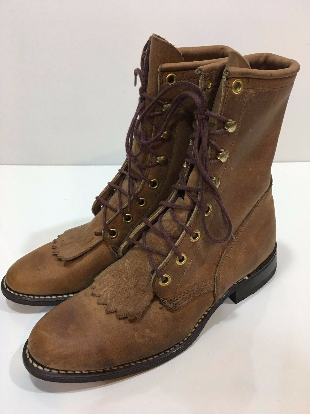 Western Cowboy Women's Leather Boots Shoes Size 6.5 M