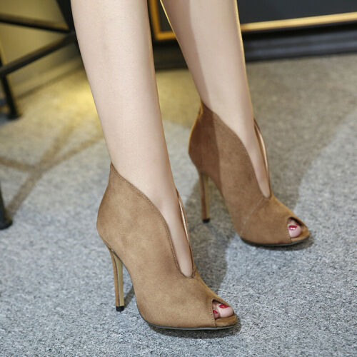 Fashion Women/'s Peep Toe Ankle Boots Stiletto High Heels Sandals Party Shoes
