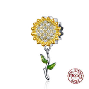 Fashion-925-Sterling-Silver-Sunflower-European-Beads-Yellow-CZ-Charms-for-Women