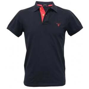 f8332772d8 Gant Contrast Collar Pique Rugger Men's Polo Shirt, Navy/Pink | eBay