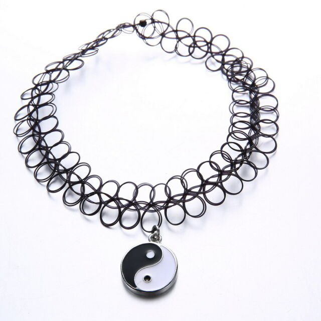 New Fashion Tattoo Choker Stretch Necklace Black Elastic 80s 90s Jewellery Gifts