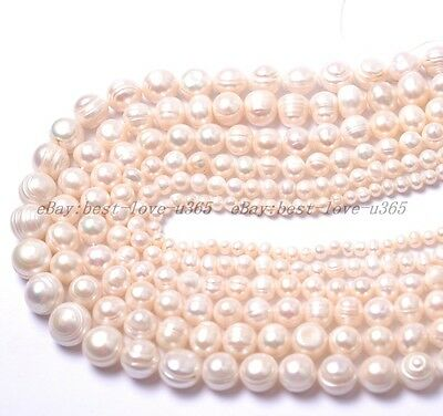 Natural Freshwater White Round Pearl Beads 4MM 6MM 7MM 8MM 10MM 12MM 14MM