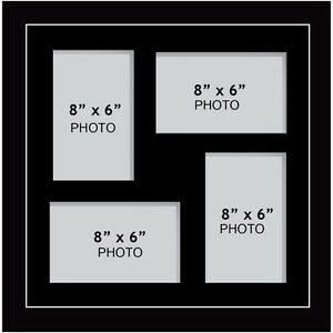 Large Multi Picture Photo Aperture Frame 8 X 6 Inches Size With 4