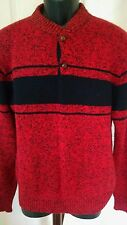 VTG HENLEY PECONIC BAY TRADERS WOOL BLEND SWEATER MEN'S SIZE L RED STRIPED