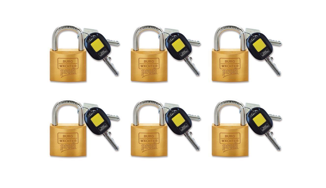 6 x Burg Wächter Zylinderschloss Profi 116 40 mit beleuchtetem Schlüsselkopf