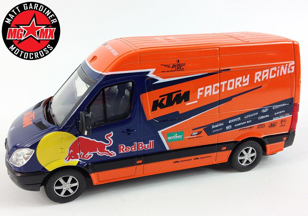 KTM rouge Bull MERCEDES Sprinter Team van usine modèle de course motocross Jouet 1, 38