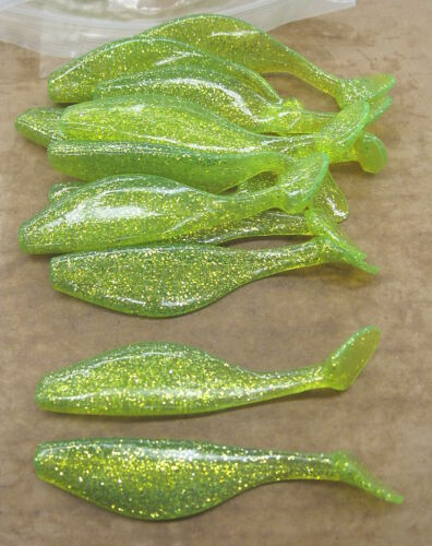 "4/"" Shad Paddle Tail Swimbait great for Umbrella Rig 40 pk Sassy Chartreuse Shine"