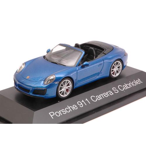 PORSCHE 911 CARRERA S CABRIOLET 2016 METALLIC blu 1:43 Herpa Auto Stradali