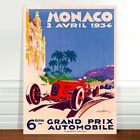 "Vintage Auto Racing Poster Art ~ CANVAS PRINT 8x12"" Monaco 1934"