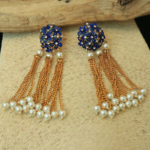 Indian-Bollywood-Blue-Earring-Jhumki-Gold-Plated-Traditional-Wedding-Jewellery