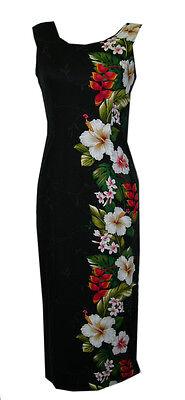 Hawaiian Laua Rayon Tropical Hibiscus White Flower Long Tank Black Dress-S-3XL