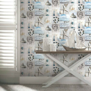 Image is loading Arthouse-Maritime-Collage-Beech-Seaside-Nautical-Wallpaper -Blue-