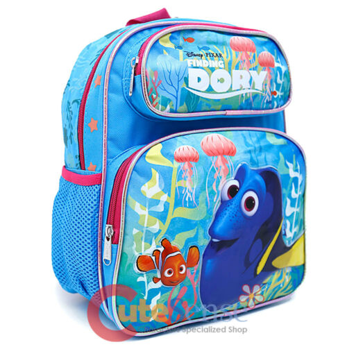 "Finding Dory School Backpack Medium 12/"" Girls Nemo Book Bag Pink Coral"