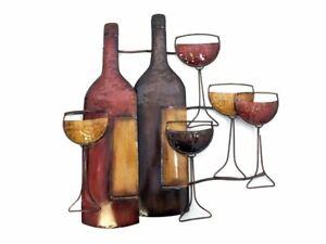 New - Contemporary Metal Wall Art Decor - Brown Wine Bottle Glasses Scene