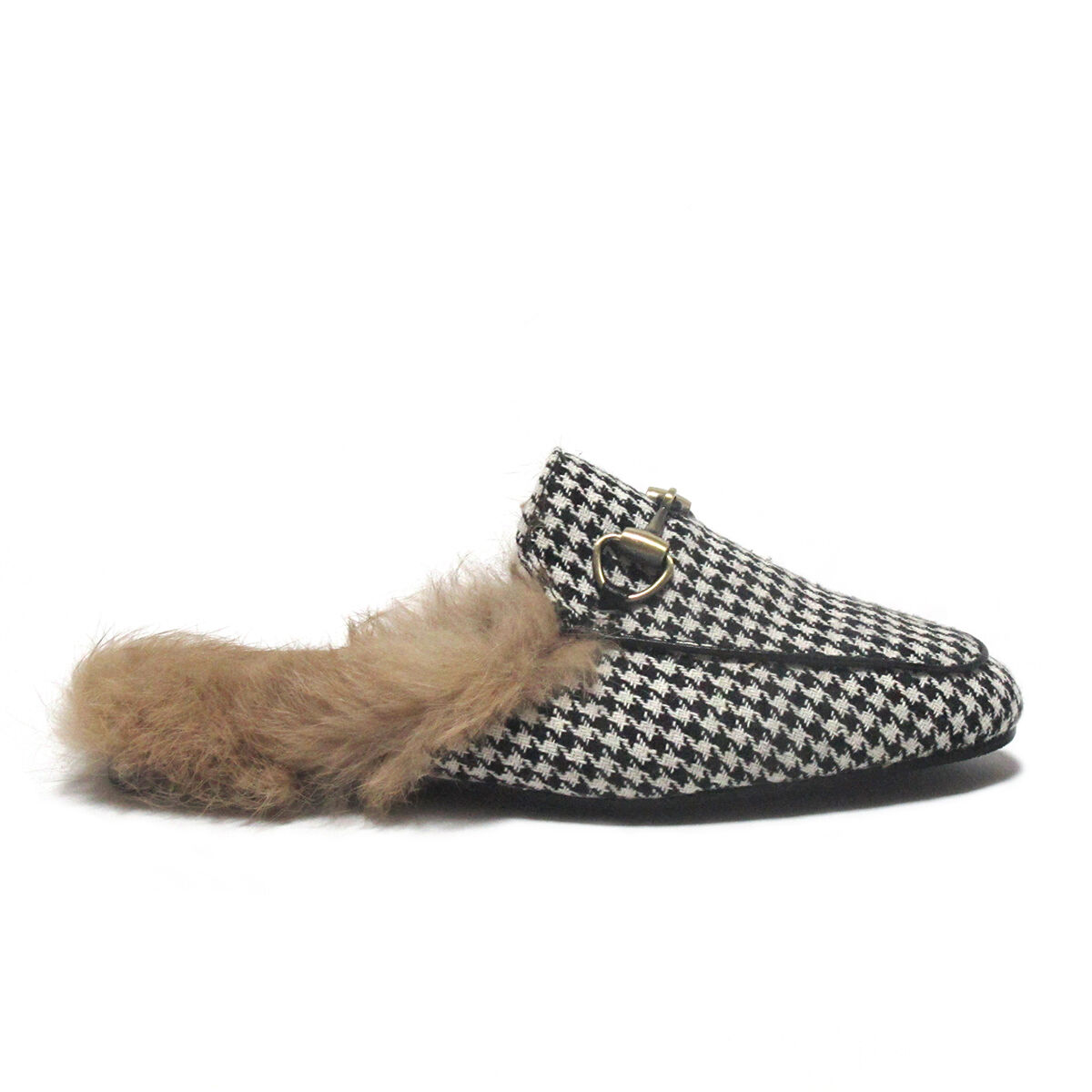 Horsebit Detailed Rabbit-Fur Lined Houndstooth Princetown Slide Loafers Slippers Slippers Slippers d2caa3