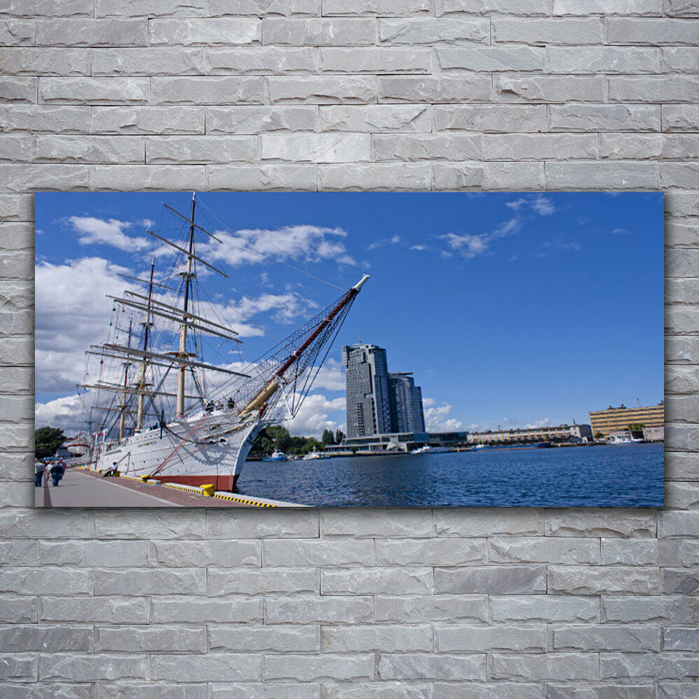 Acrylic print Wall art 120x60 Image Picture Boat Sea Town Landscape