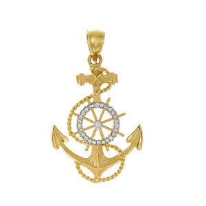 14k Yellow Gold Nautical Necklace Pendant 17 Dwt Diamond Anchor