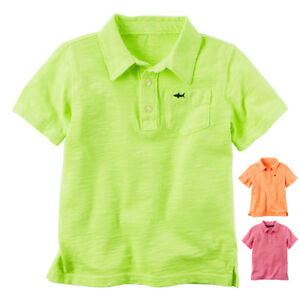 bec29607 NWT Carter's Toddler Boys Pink, Orange & Green Brightly Colored Polo ...