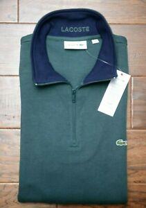 Lacoste SH1462 Mens 1/4 Zip Mock Neck Dark Green 100% Cotton Sweat Sweater 3XL 8
