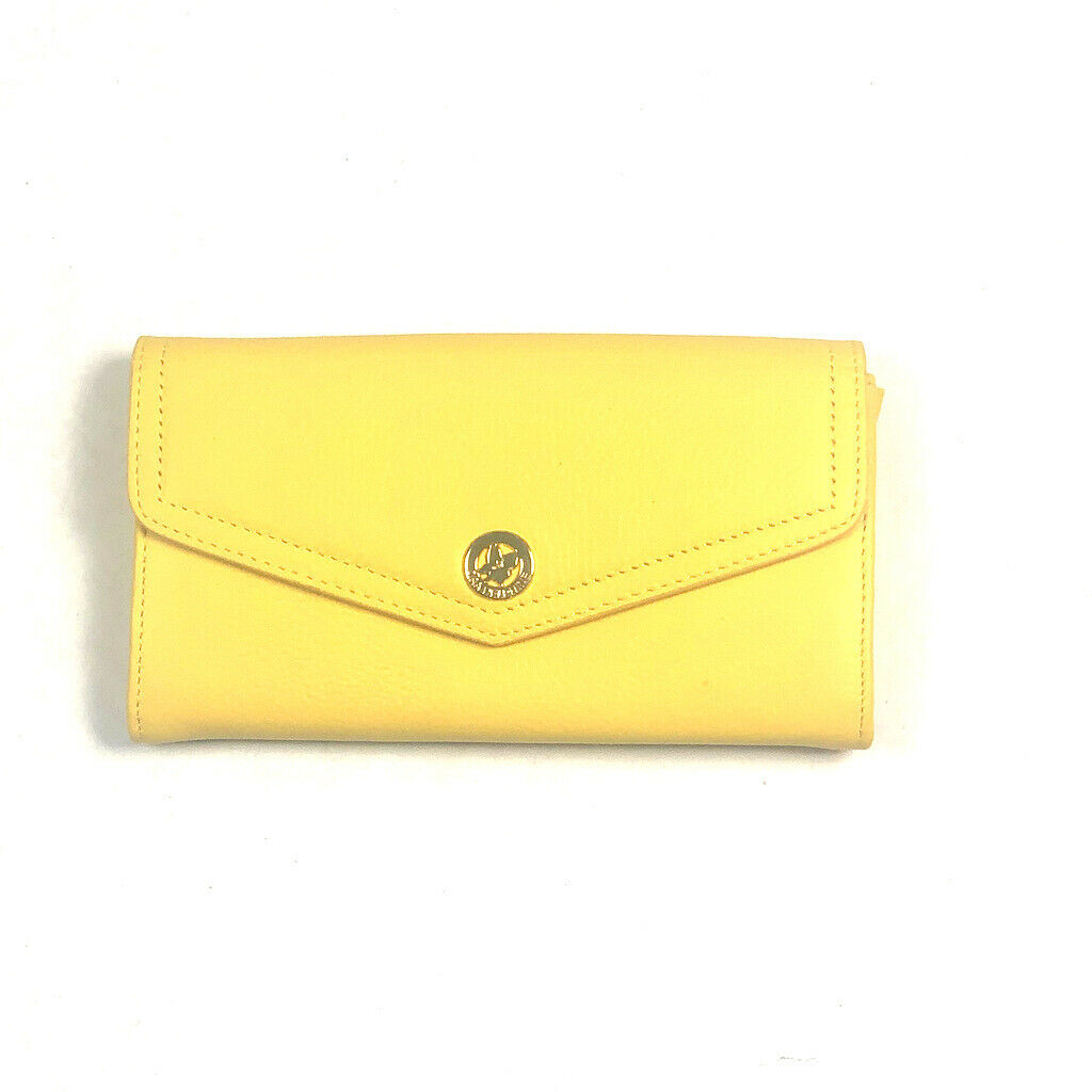 Ora Delphine Tatum Wallet in Daisy Yellow Leather Gold Clutch Envelope