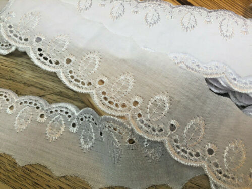 """*New* Beautiful 2/""""//7.5cm White Cotton Leaf Design Flat Broderie Anglaise Lace"""