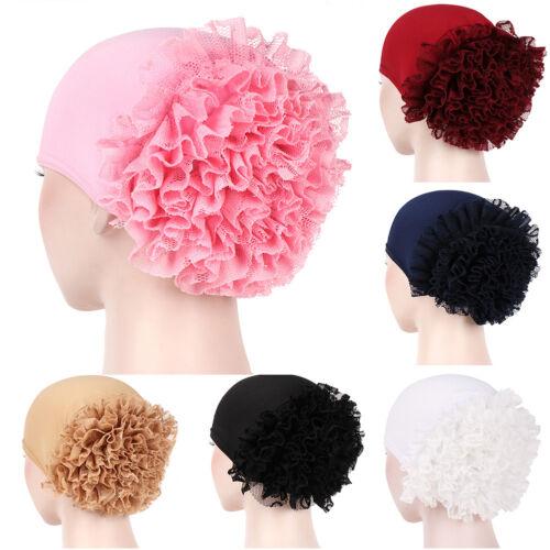 WOMEN LACE FLORAL MUSLIM HIJAB TURBAN SOLID ARABIC HEAD SCARF CAP HAT NICE