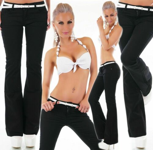 Donna Stile Ufficio Lavoro Stretch Boot Cut Jeans Pantalone Nero Tg UK 4-12