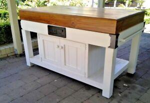 Ihr Austmade White 4 Cupboards Island Bench Butchers Block Side