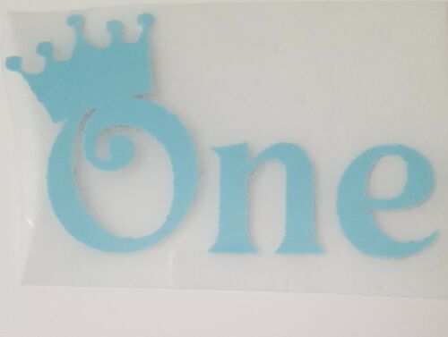 "Hotfix iron on transfer word the  /""ONE/"" with crown in baby blue flock"