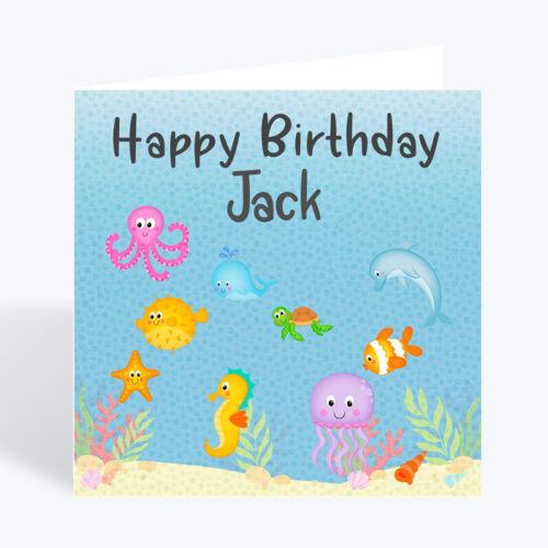 Personalised Birthday Card Fish Grand Son Nephew Boy 3rd 4th 5th 6th 7th 8th 9th
