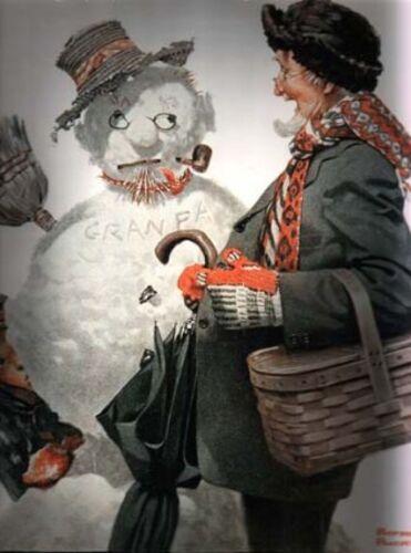 CHRISTMAS SNOWMAN GRANDPA NORMAN ROCKWELL DECEMBER 1919 GRAMPS ENCOUNTERS GRAMPS
