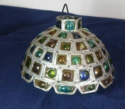 Beautiful Vintage Hanging Jeweled Marbled Marbles Hanging Ceiling Lamp NO CHAIN