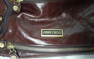 9c4a3b06ab Image is loading JIMMY-CHOO-Brown-Patent-Leather-and-Suede-Mahala-