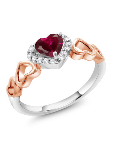 0.76 CT Heart Shape Red créé RUBY bicolore Sterling Silver Ring
