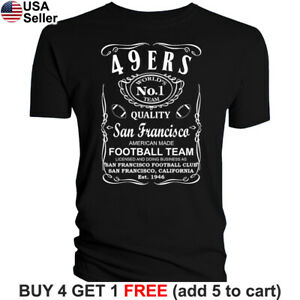 San-Francisco-49ers-T-Shirt-JD-Whiskey-Graphic-SF-Men-Cotton-Whisky