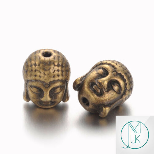 20x Tibetian Buddha Head Beads for Jewellery Making Silver Gold Bronze 11x9x8mm