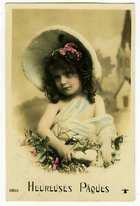 c 1910 Children Kids Fantasy BONNET GIRL tinted photo postcard