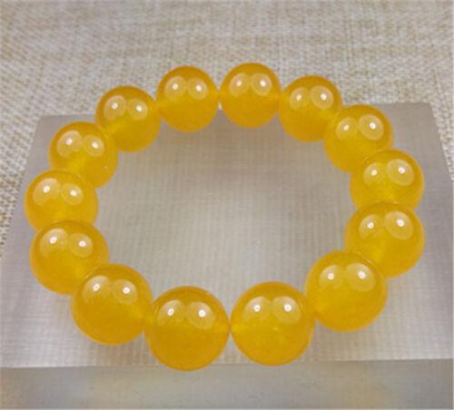 14MM 100/% Natural YELLOW JADE beads bracelet