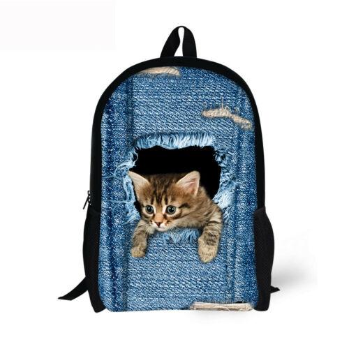 Cat Skull Wolf Backpack School Lunch Pencil Bag Shoulder Laptop Rucksack Satchel
