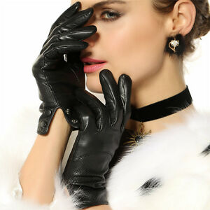 Womens-GENUINE-LEATHER-stylish-gloves-lined-5-color