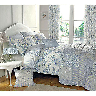 Traditional Toile Duvet Quilt Cover - Floral Bedding Set in Cream & Blue
