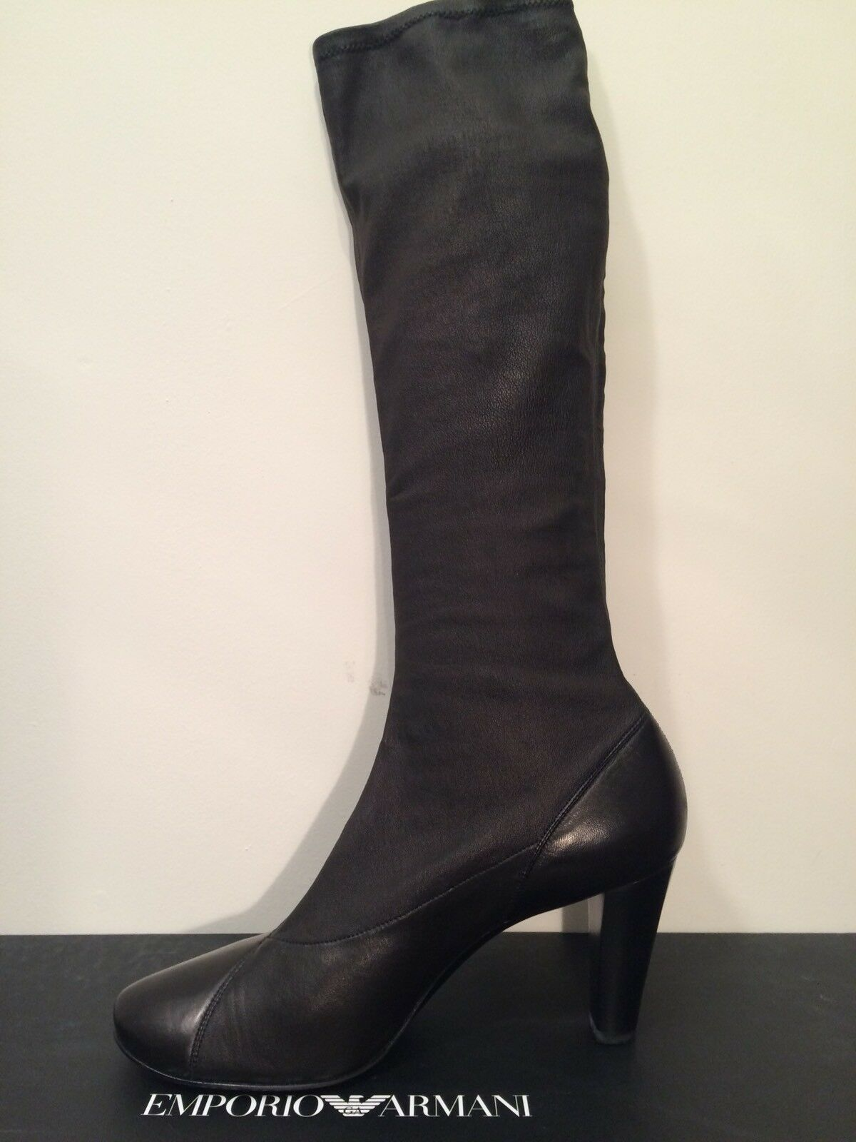 EMPORIO ARMANI STYLISH LEATHER BOOTS ITALIAN SIZE 39.5