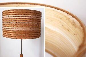 Original-Retro-Fabric-Lampshade-30cm-40cm-Drum-60s-70s-Striped-Brown-Boho