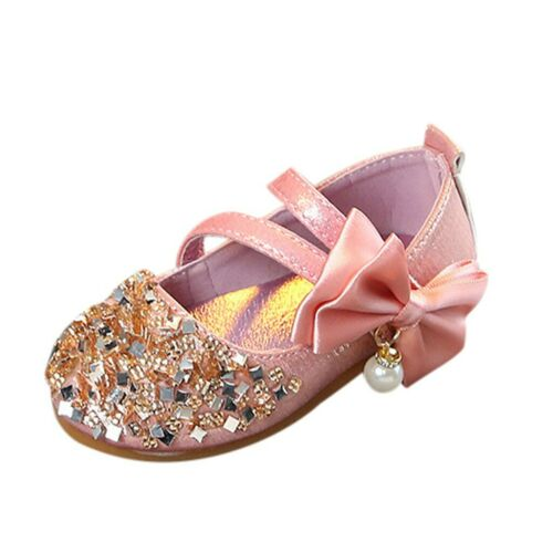 Kids Children Baby Girls Bowknot Bling Pearl Princess Single Dance Party Shoes