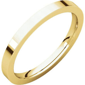 Flat Plain Wedding Band 2mm Wide Mens and Womens 14k Yellow Gold