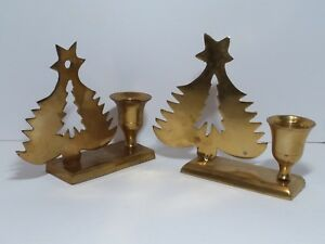 Vintage Brass Christmas Tree Candle Holder.Details About Vintage Brass Christmas Tree Candle Holder Set 2 Pc India Cut Out Taper