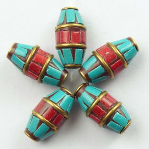 18x7mm-10Pcs-Nepal-Rare-Earth-Bronze-Coral-Turquoise-Drum-Pendant-Bead-NN583