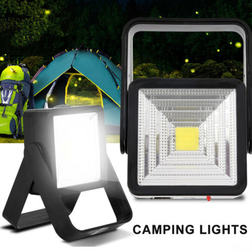 Solar Power Camping LED Lights Fishing Emergency Lamp USB Rechargeable Black ABS