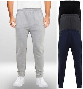 Herren-Jungen-Erwachsenen-Jogging-Bottoms-Jogginghose-gefuettert-Uni-Reissverschluss-Taschen