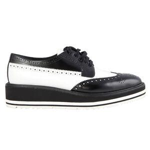 2f9d72114e Details about 41972 auth PRADA black   white leather BROGUE Platform Derby  Flats Shoes 39.5